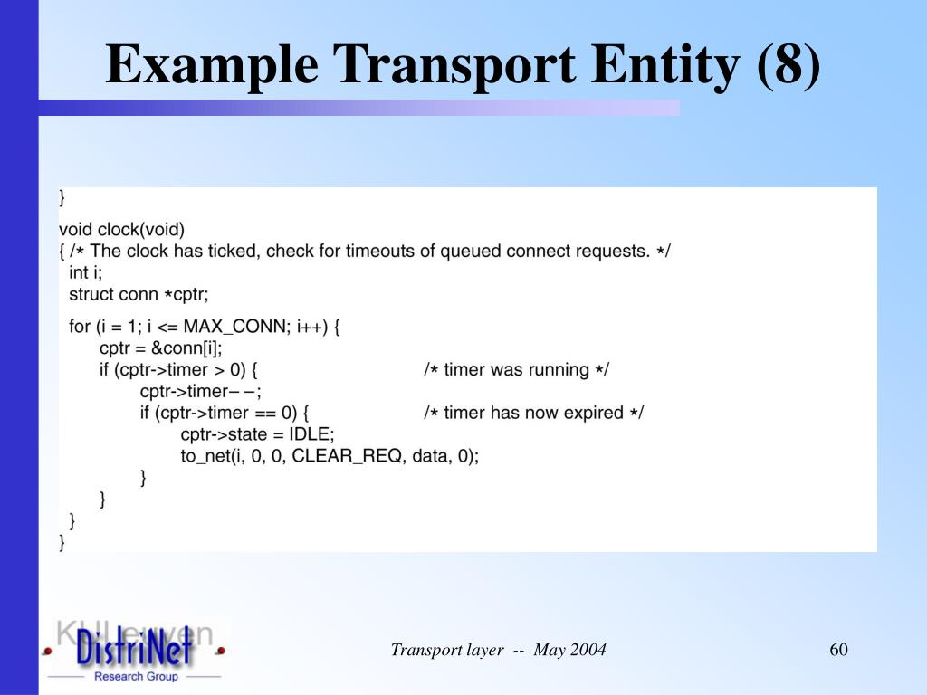 Example Transport Entity (8)