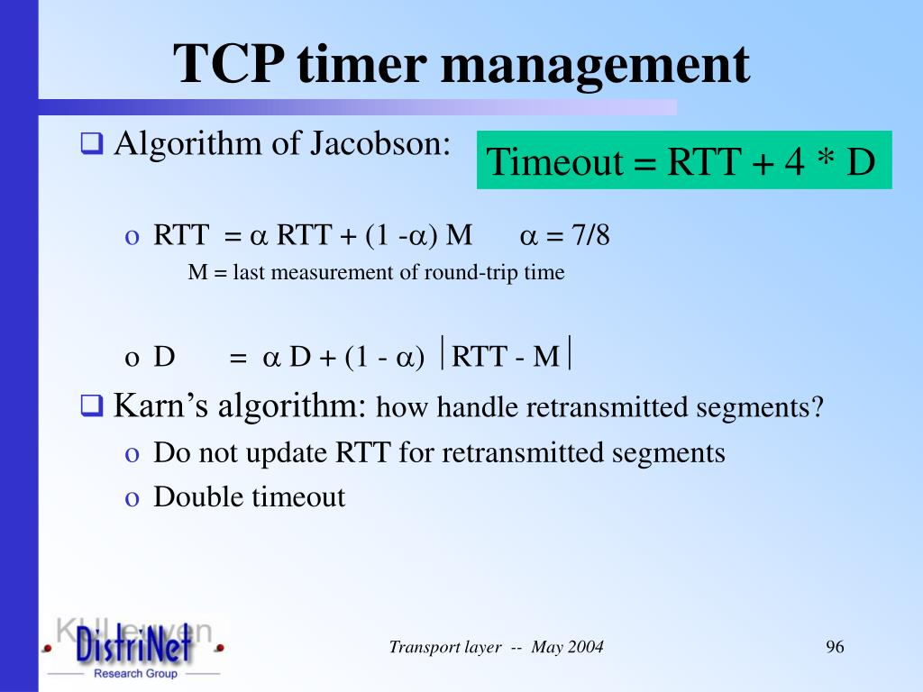 TCP timer management