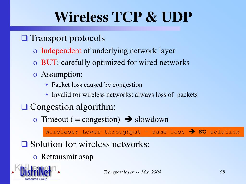 Wireless TCP & UDP