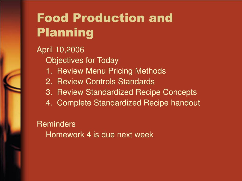 Food Production and Planning