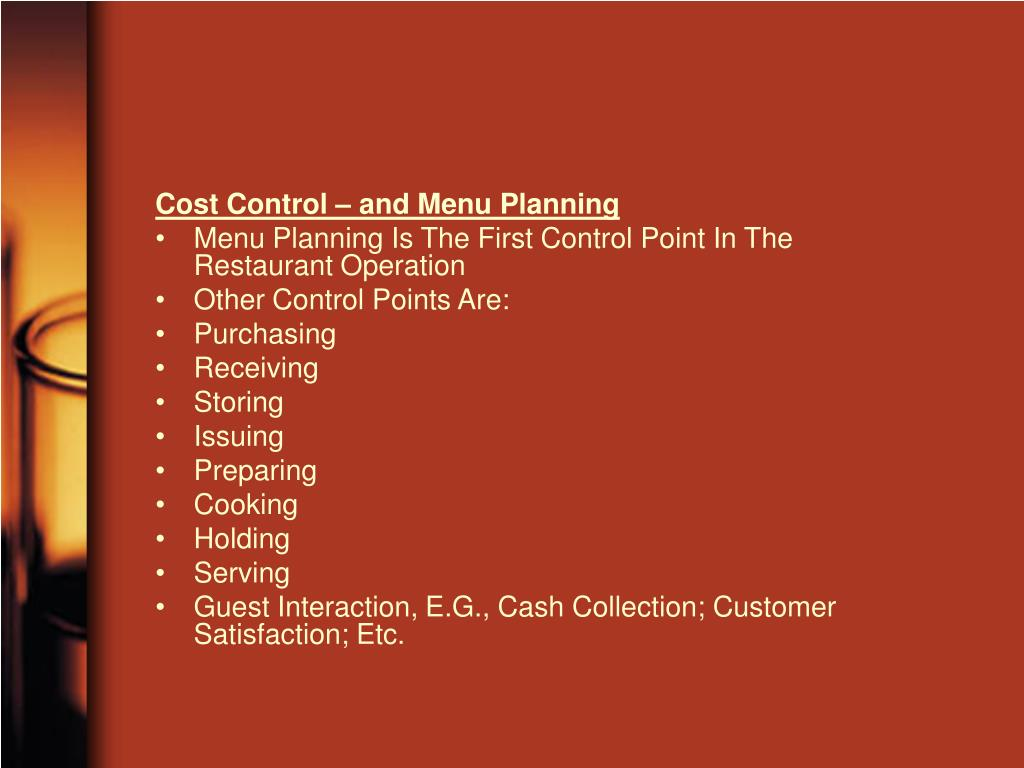 Cost Control – and Menu Planning