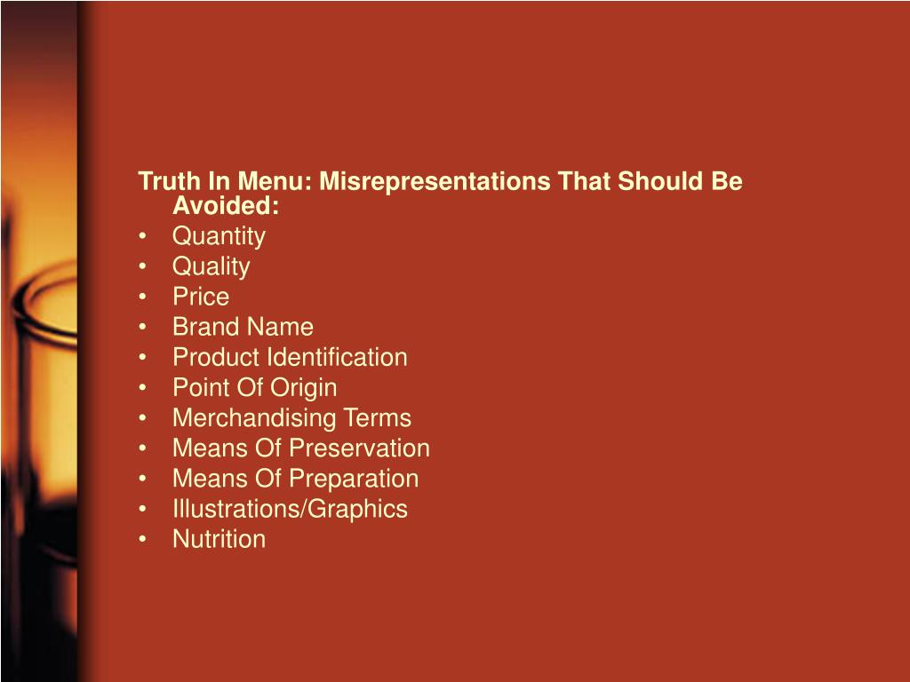Truth In Menu: Misrepresentations That Should Be Avoided:
