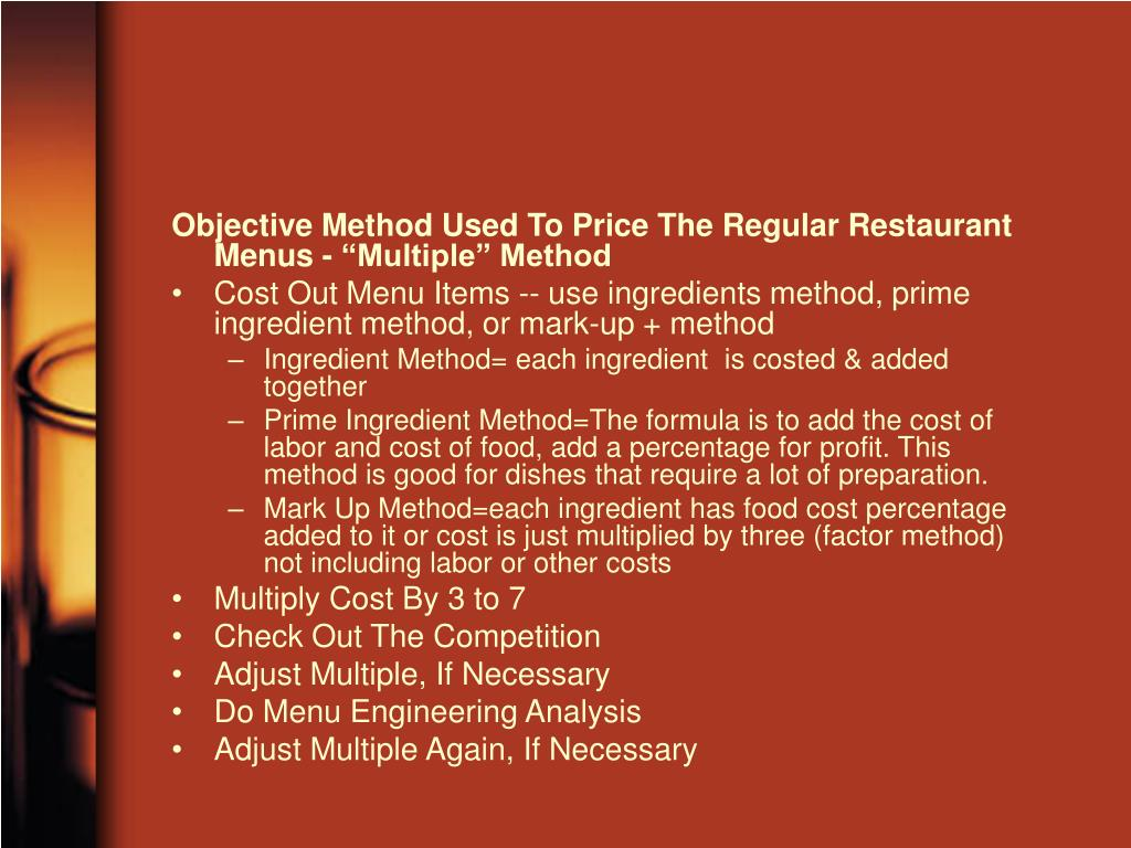 "Objective Method Used To Price The Regular Restaurant Menus - ""Multiple"" Method"