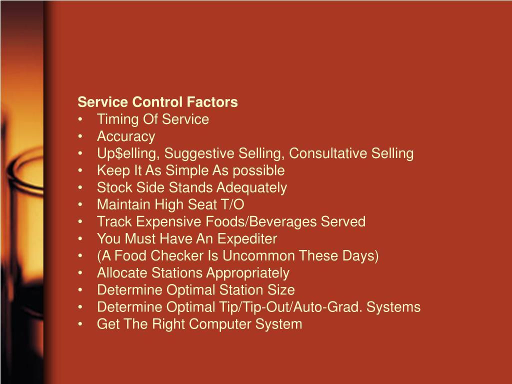 Service Control Factors
