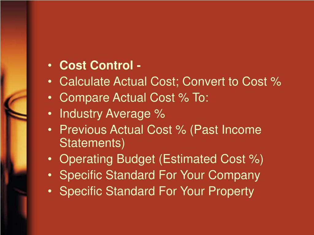 Cost Control -