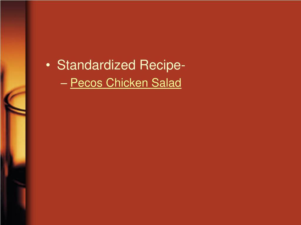 Standardized Recipe-