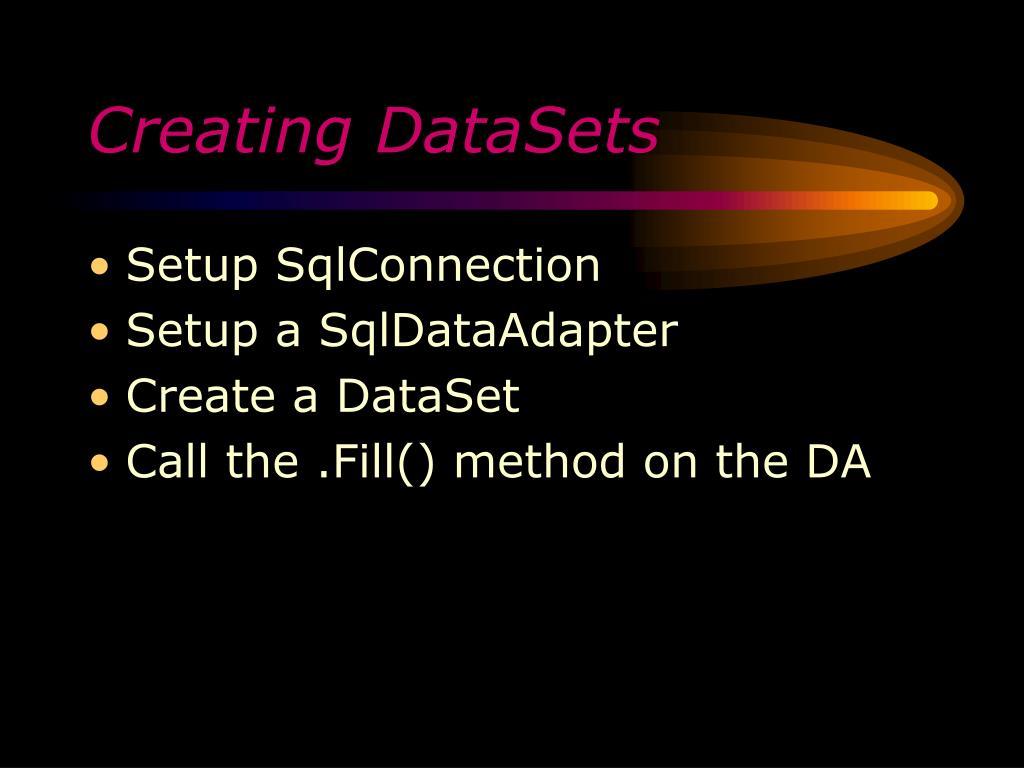 Creating DataSets