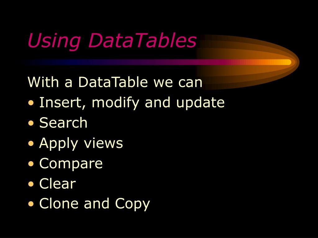 Using DataTables