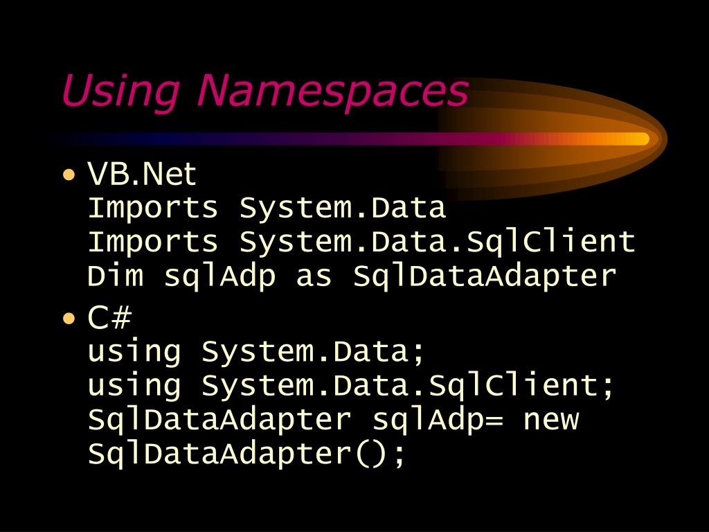 Using Namespaces