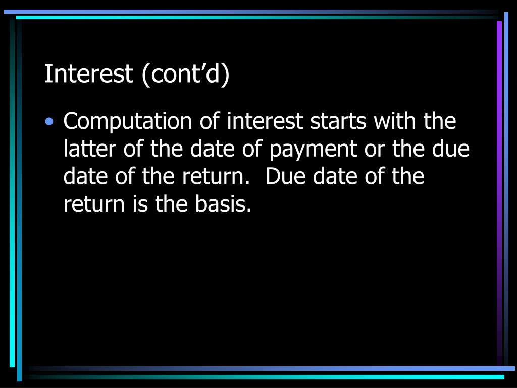 Interest (cont'd)