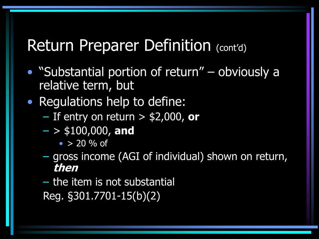 Return Preparer Definition