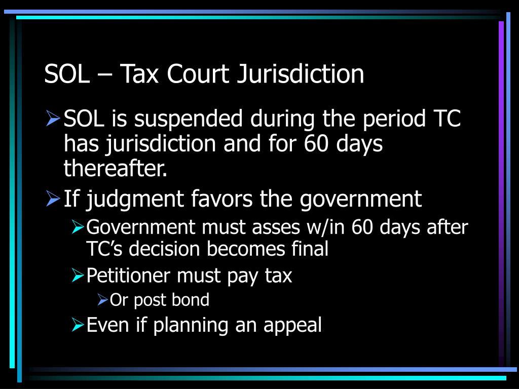 SOL – Tax Court Jurisdiction