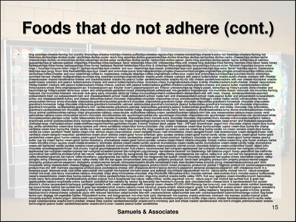 Foods that do not adhere (cont.)