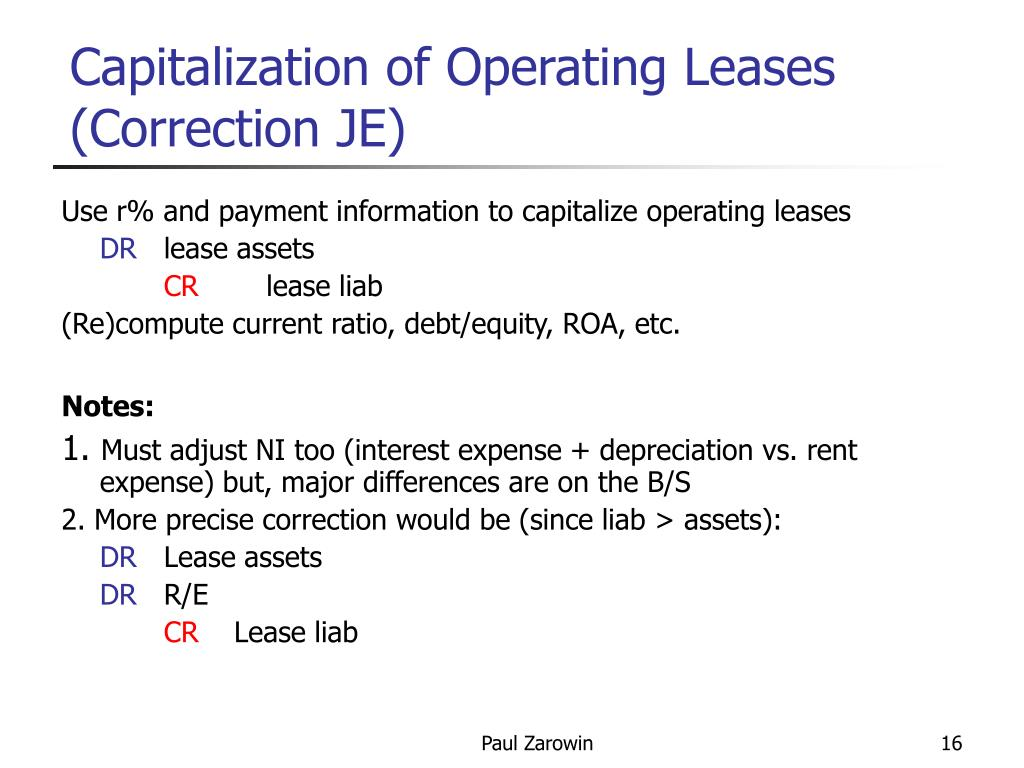 Capitalization of Operating Leases (Correction JE)