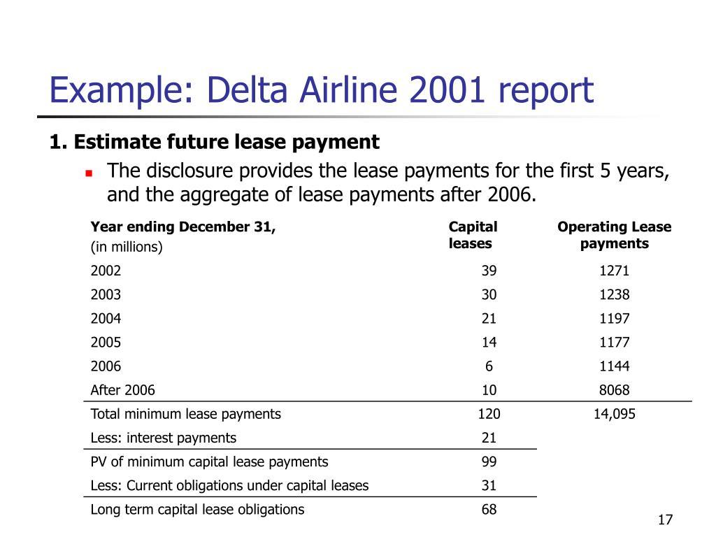 Example: Delta Airline 2001 report