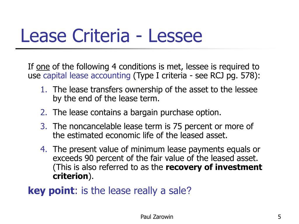 Lease Criteria - Lessee