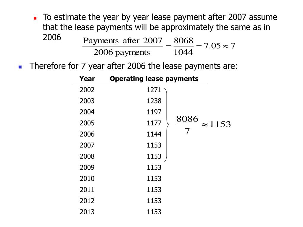 To estimate the year by year lease payment after 2007 assume that the lease payments will be approximately the same as in 2006