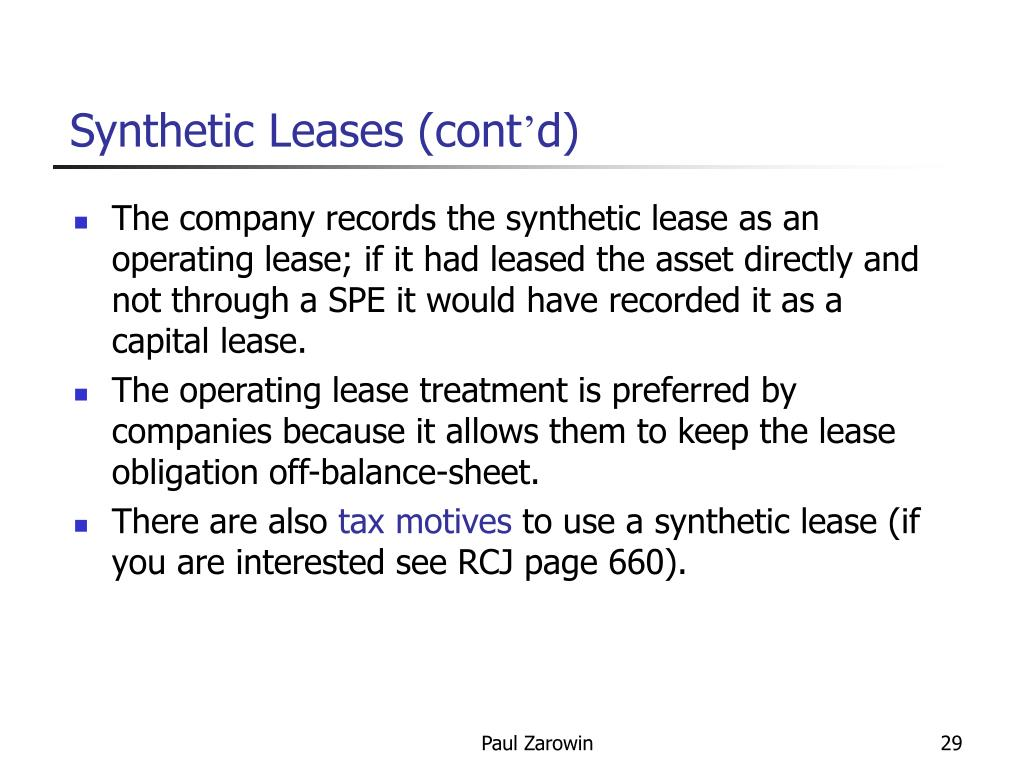 Synthetic Leases (cont