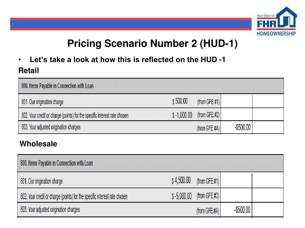 Pricing Scenario Number 2 (HUD-1)