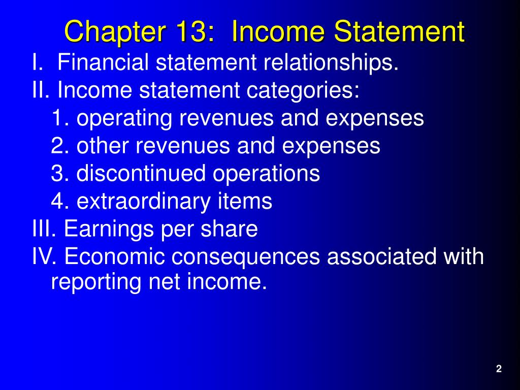 I.  Financial statement relationships.