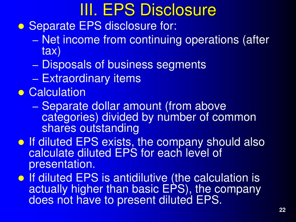 Separate EPS disclosure for: