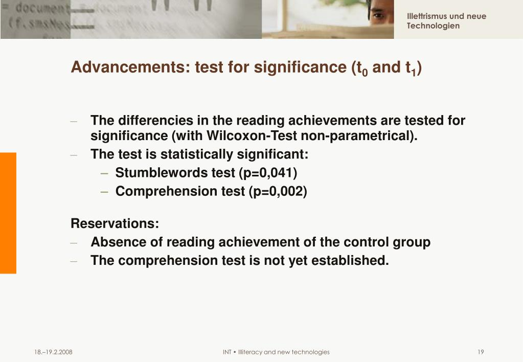 Advancements: test for significance (t