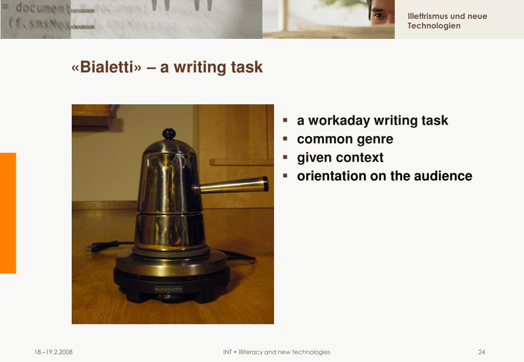 «Bialetti» – a writing task