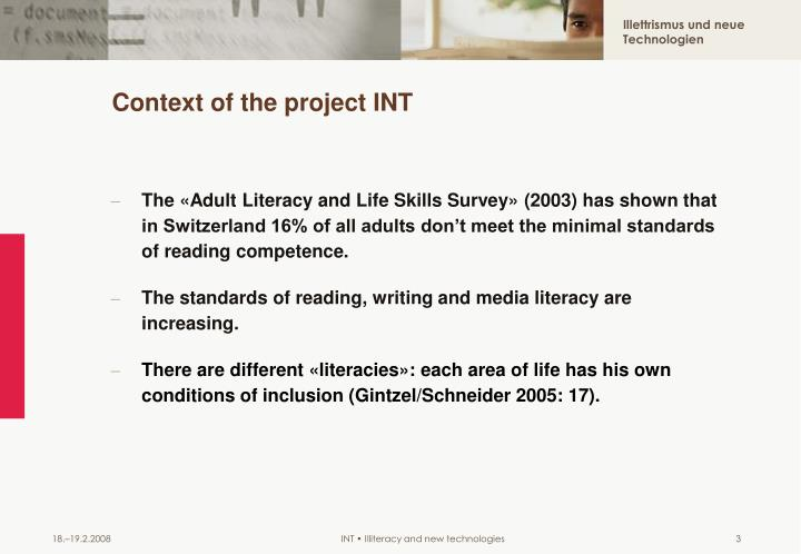 Context of the project int