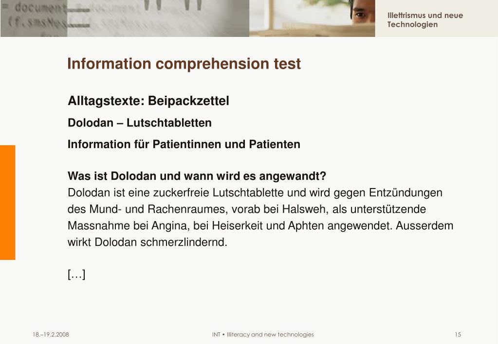 Information comprehension test