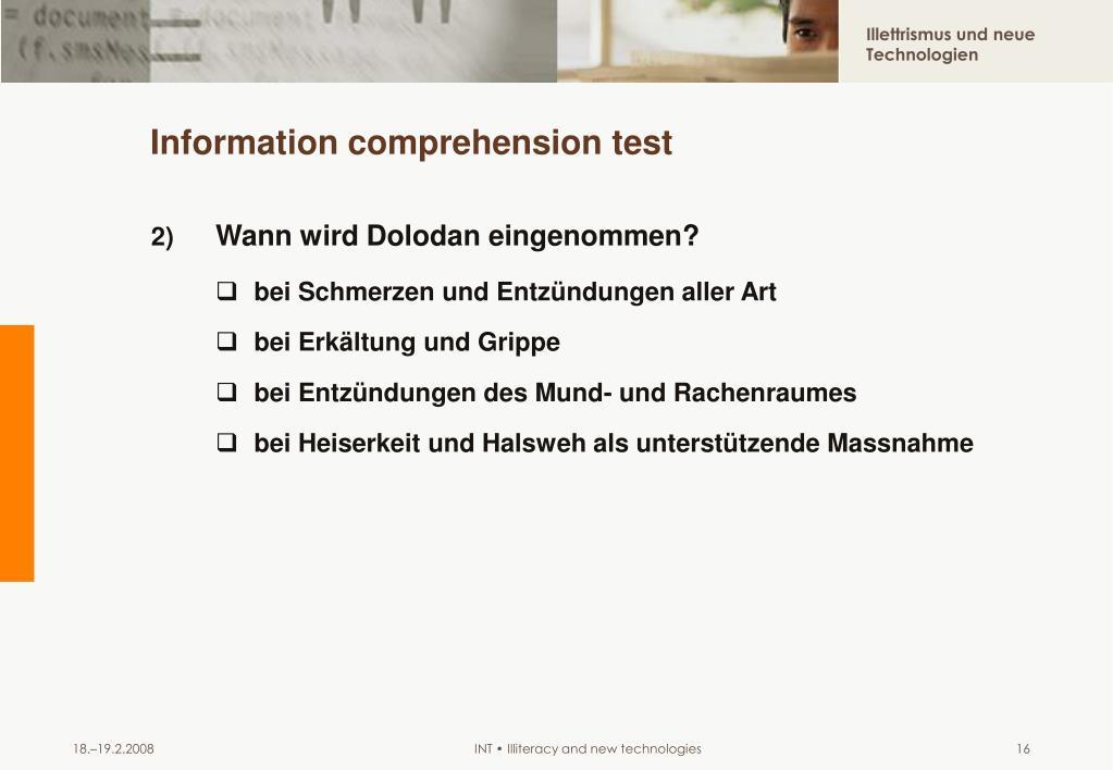 Information comprehension test