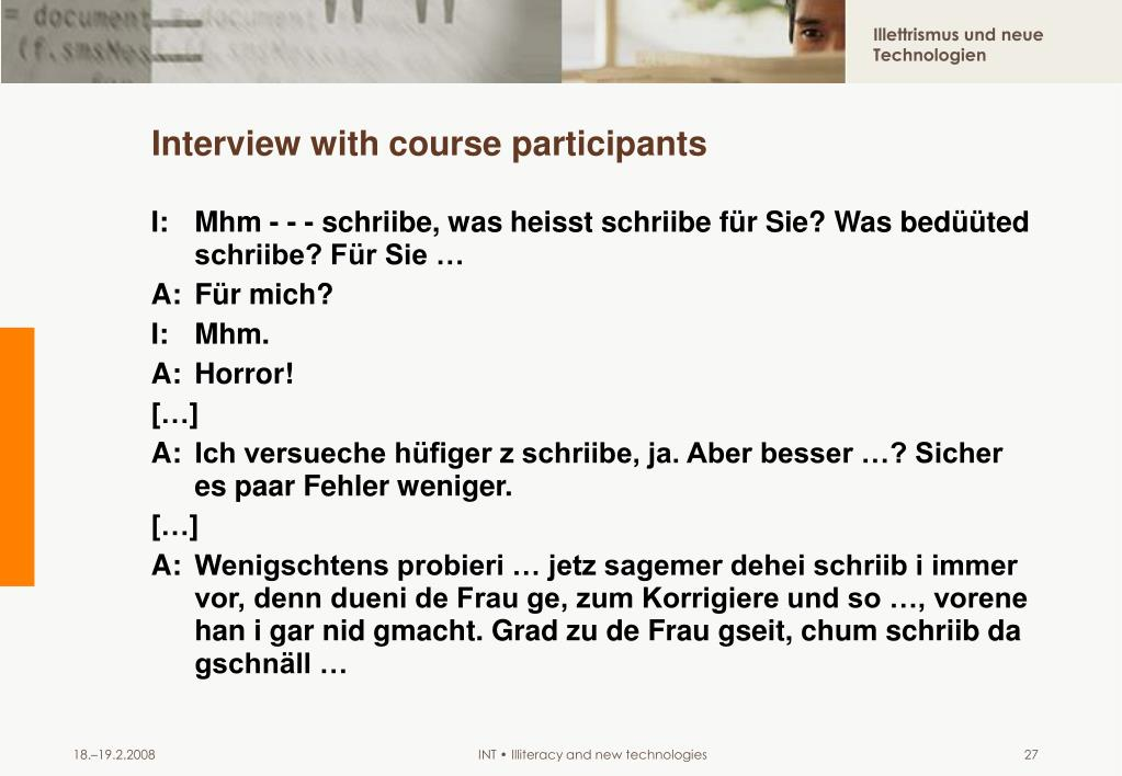 Interview with course participants