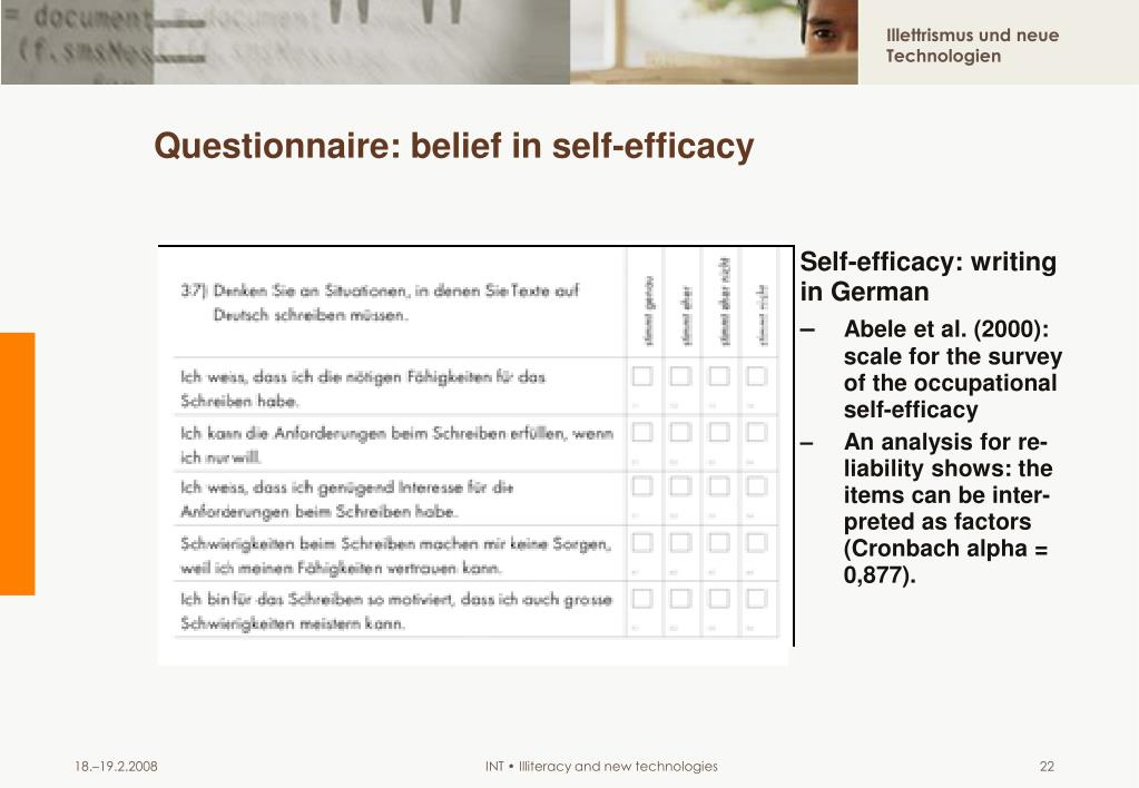 Questionnaire: belief in self-efficacy