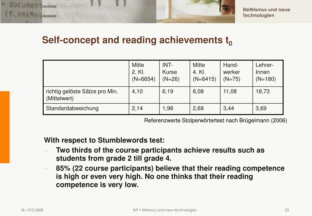 Self-concept and reading achievements t
