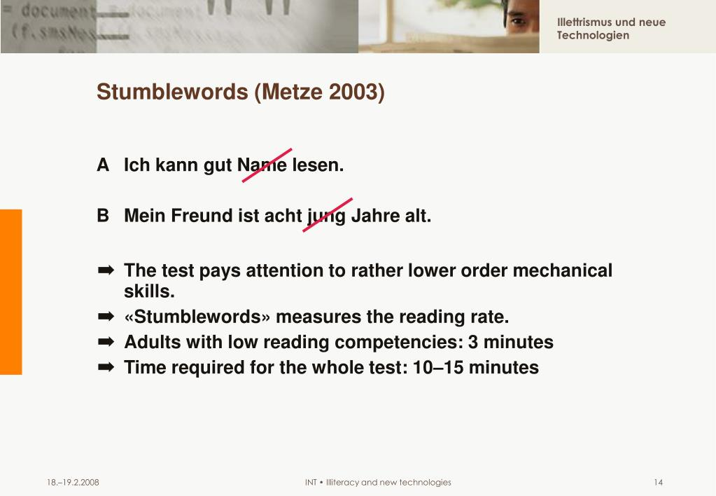 Stumblewords (Metze 2003)