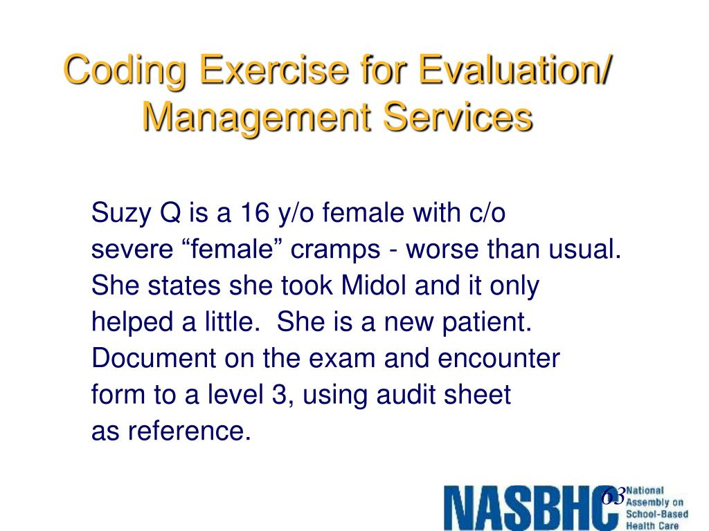 Coding Exercise for Evaluation/ Management Services