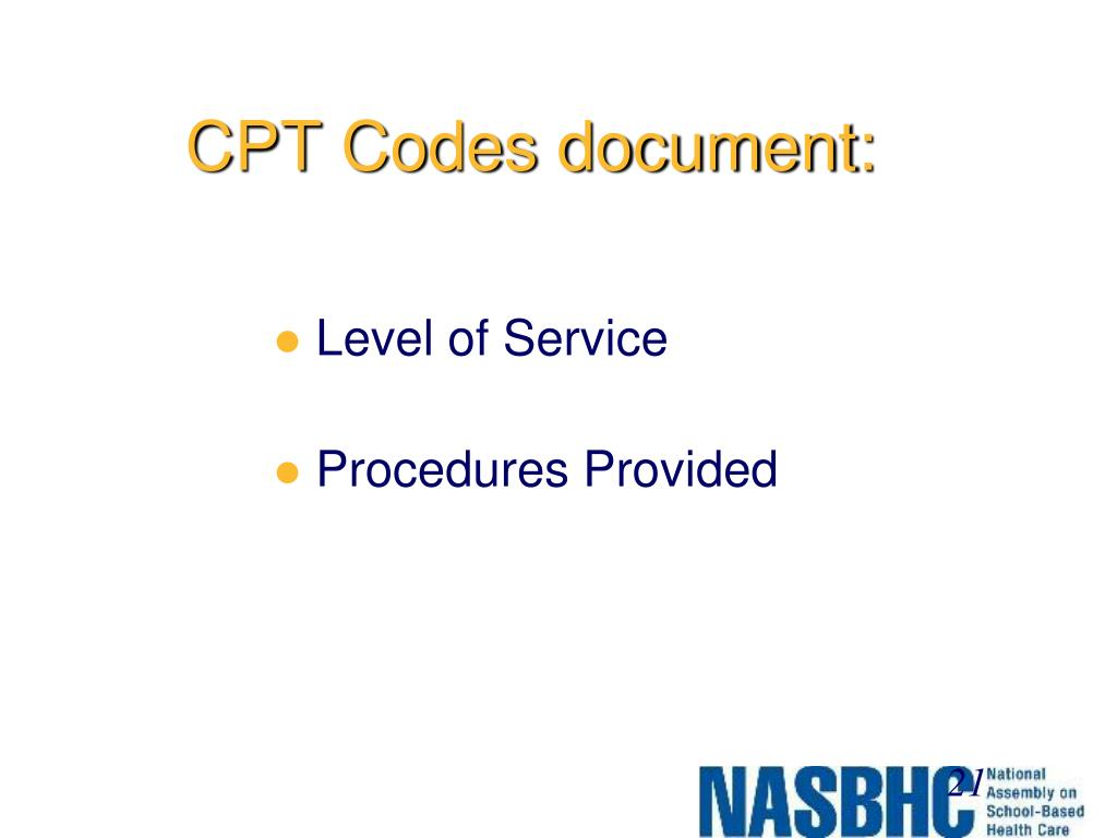 CPT Codes document: