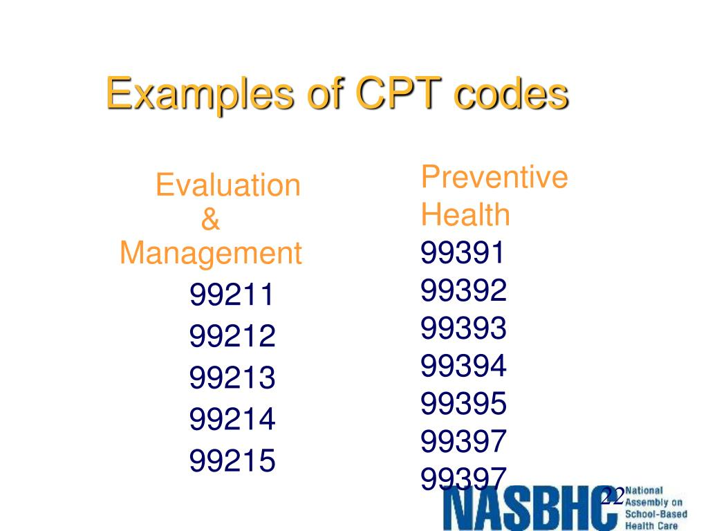 Examples of CPT codes