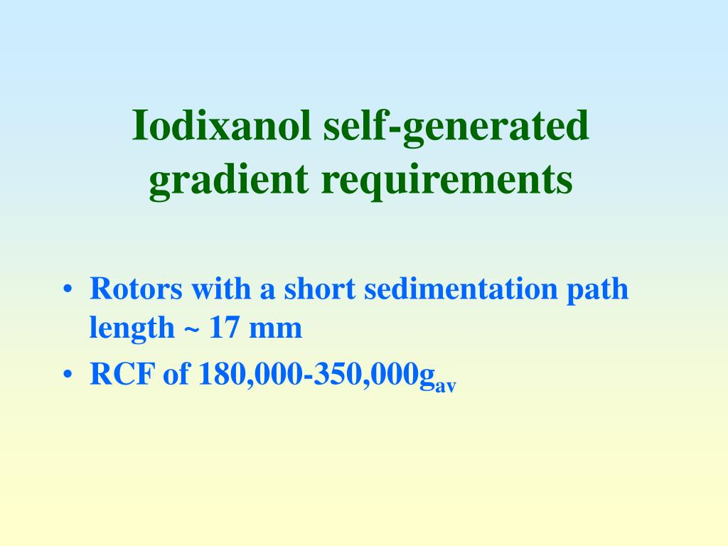 Iodixanol self-generated gradient requirements