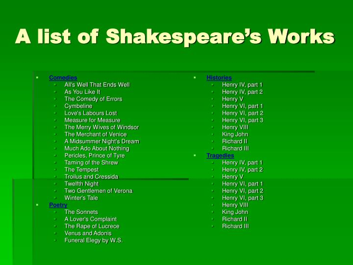 A list of shakespeare s works