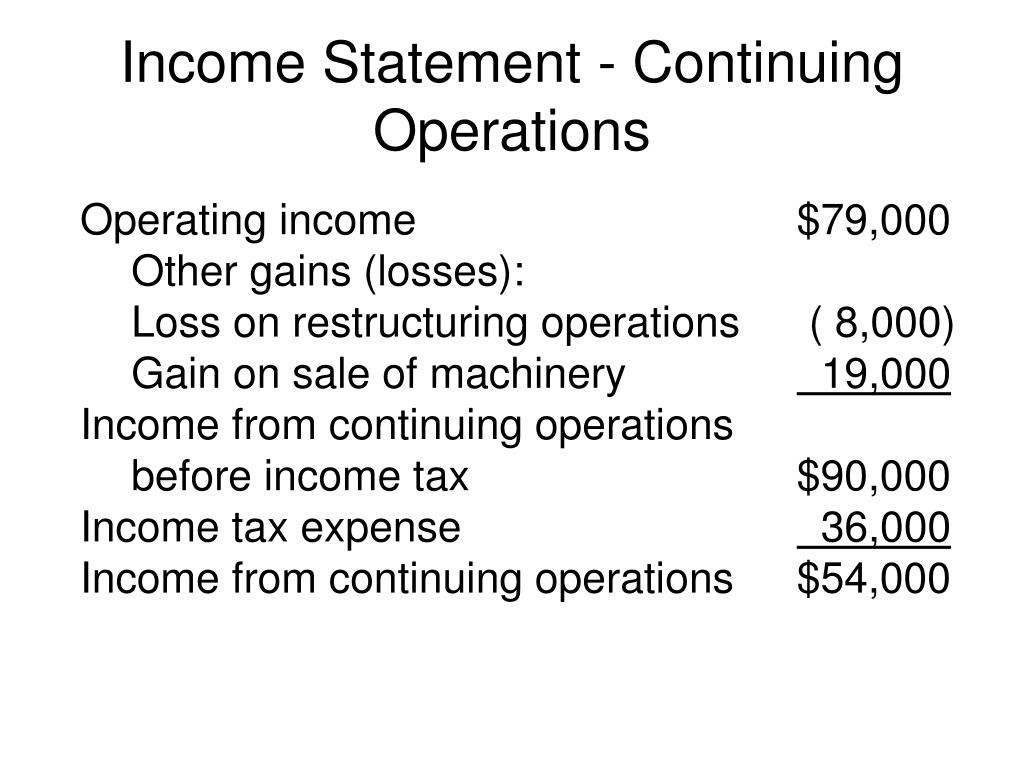 Income Statement - Continuing Operations