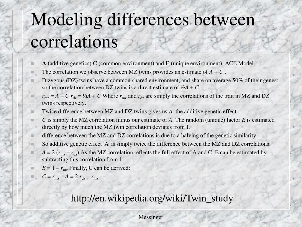 Modeling differences between correlations