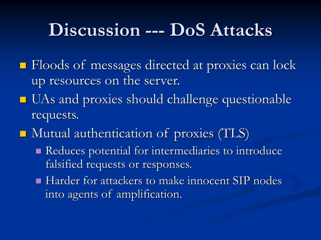 Discussion --- DoS Attacks