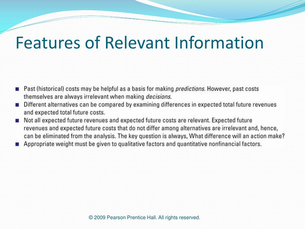 Features of Relevant Information