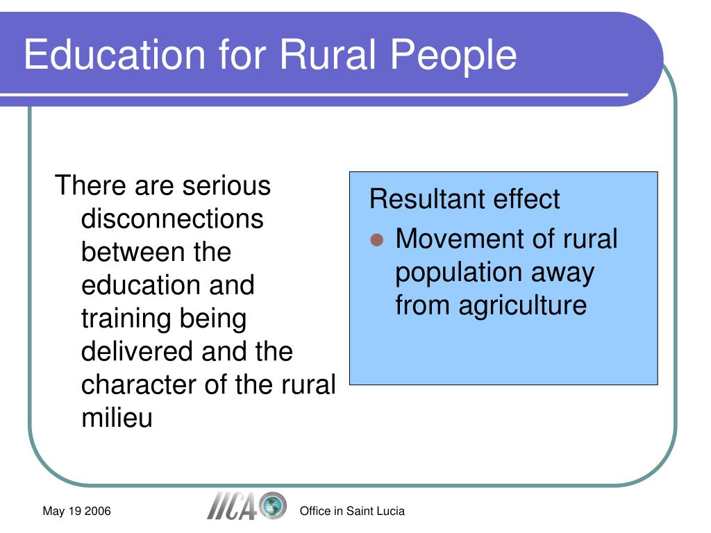 There are serious disconnections between the education and training being delivered and the character of the rural milieu