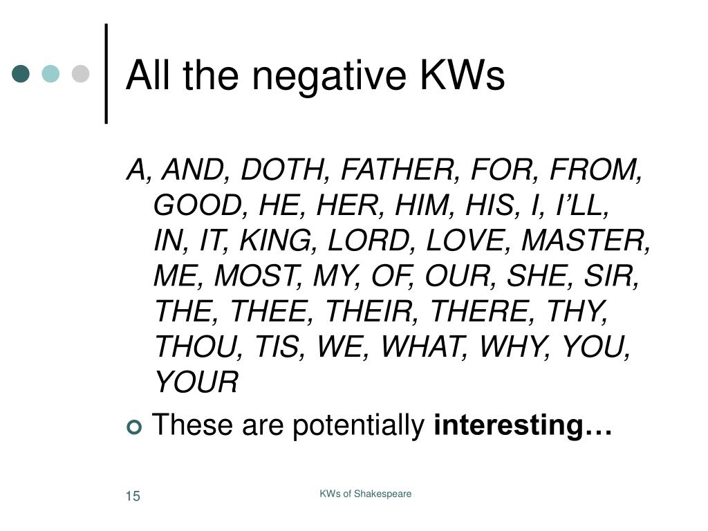 All the negative KWs