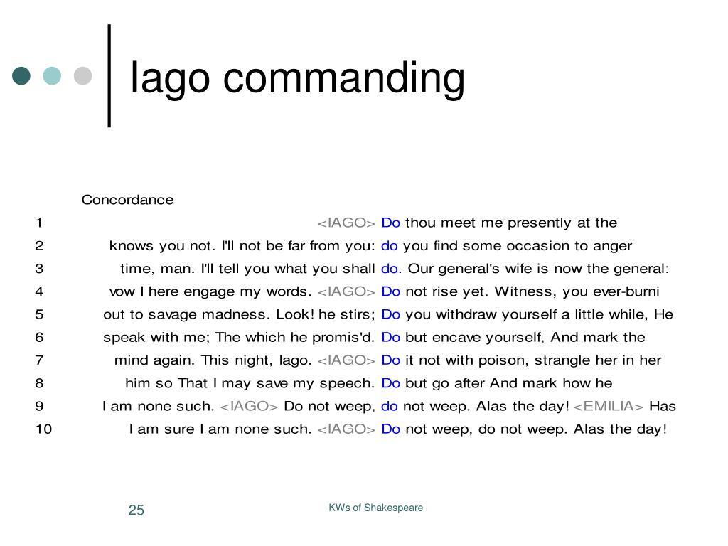 Iago commanding