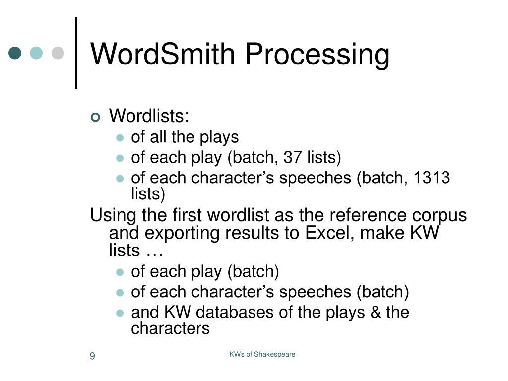 WordSmith Processing