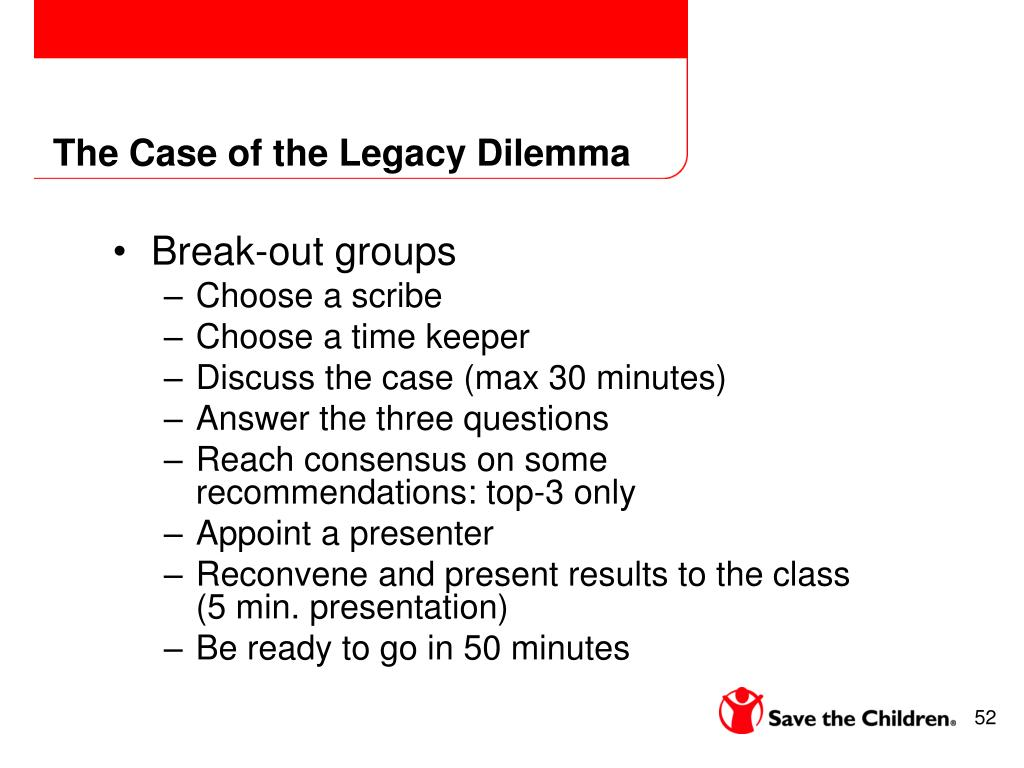 The Case of the Legacy Dilemma