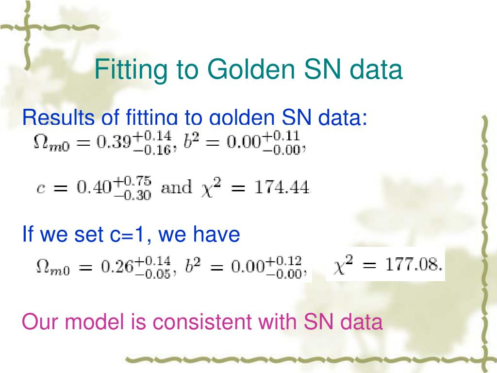 Fitting to Golden SN data