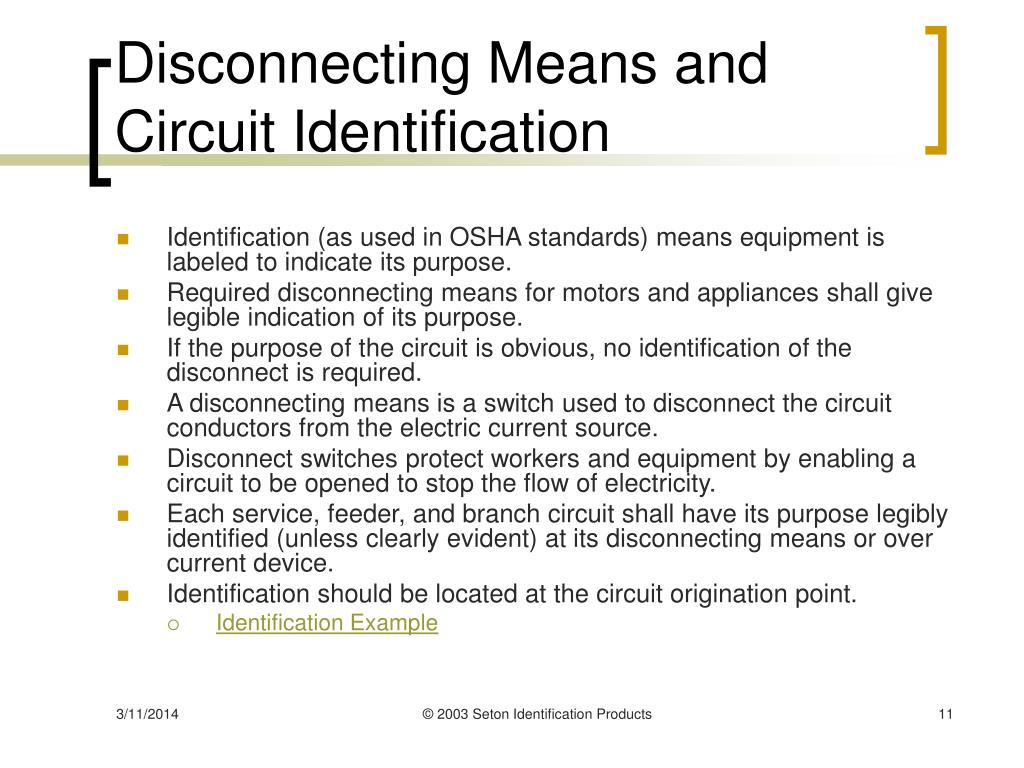Disconnecting Means and Circuit Identification